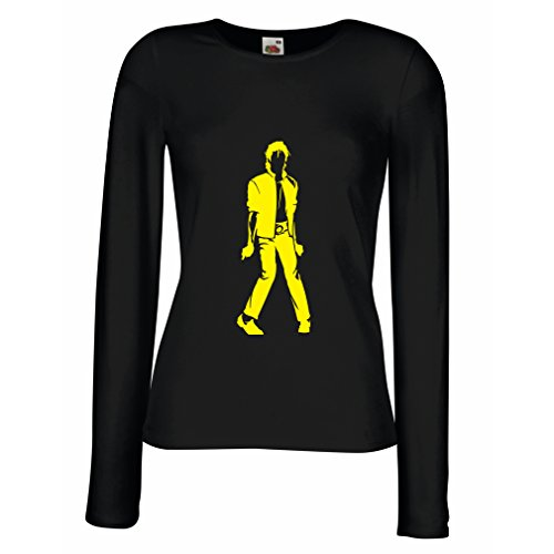 lepni.me Camisetas de Manga Larga para Mujer Me Encanta M J - Rey del Pop, 80s, 90s Músicamente Camisa, Ropa de Fiesta (X-Large Negro Amarillo)