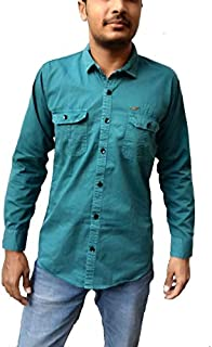WAT 2 DO ? Men's Casual Denim Shirt Full Sleeve with Double Pocket