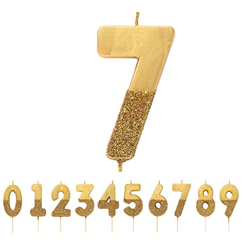 Talking Tables Glitter Number Candle-Premium Quality Cake Topper Decoration Pretty, Sparkly for Kids, Adults, 7th, 70th Birthday Party, Anniversary, Milestone, Height 8cm, 3', Gold 7