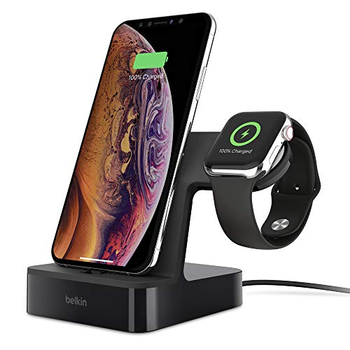 Belkin PowerHouse - Base de carga para Apple Watch + iPhone (estación dock de carga para iPhone 11, 11 Pro/Pro Max, XS, XS Max, XR, X, 8/8 Plus y otros, Apple Watch Series 4, 3, 2, 1), Negro