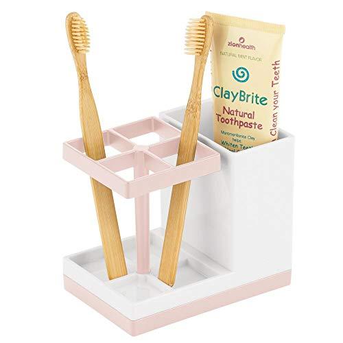 mDesign - Tandenborstelhouder - tandenborstelstandaard - vrijstaand/stijlvol/praktisch - met tandenborstelcompartiment - tandverzorging - wit/lichtroze