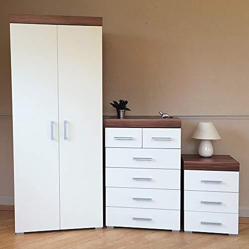 MMPTN Schlafzimmermöbel Set White Walnuss * 2 Türgarderobe, 4 2 Schublade Brust 3 Zeichnen Sie Bettkabinett,White