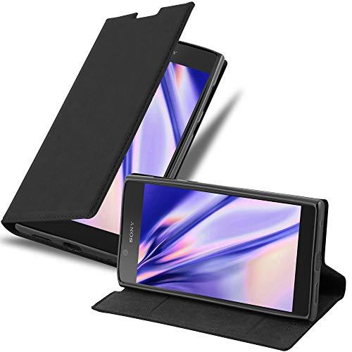 Cadorabo Hülle für Sony Xperia L1 in Nacht SCHWARZ - Handyhülle mit Magnetverschluss, Standfunktion & Kartenfach - Hülle Cover Schutzhülle Etui Tasche Book Klapp Style