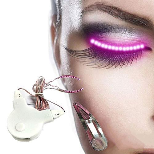 LED Faux Cils Halloween Cils Clignotant Led Lumineux Faux Cils LED Lumineux Faux Cils Effet Imperméable À L'eau Portable Lumières pink