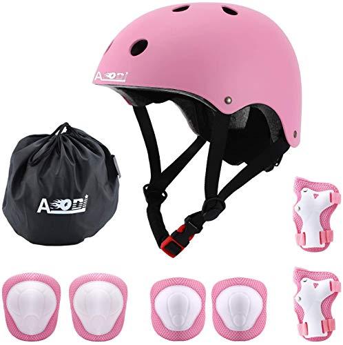 AODI Kids Protective Gear Set für 3-8 Jahre, verstellbare Helmknie-Ellbogenschützer Handgelenkschützer mit CE-Zertifizierung für Multi-Sport-Radsport-Skateboard-Roller (7-teiliges Set)
