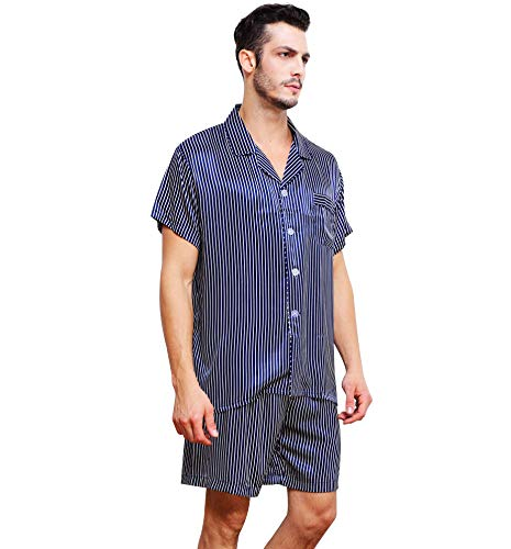 Herren Seide Schlafanzug Pyjama Kurz Blau Large