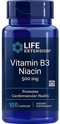Vitamin B3 Niacin, 500mg, 100 capsules, by Life Extension