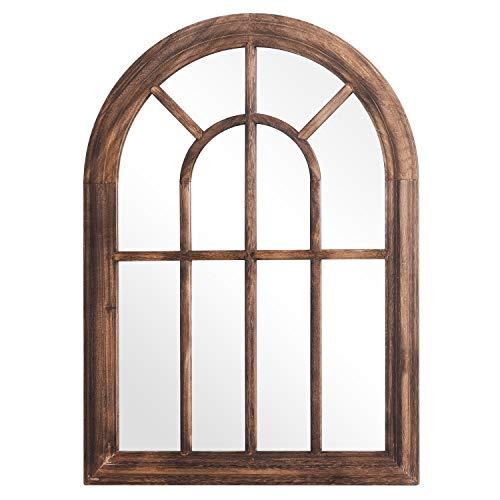 Rose Home Fashion RHF Mirror,Decorative Torched Wall Hanging Mirror,Rustic Wood Frame Arch Mirror, Boho Wall Decor, Farmhouse Decor, 20' by 27.5', Brown