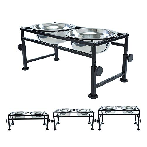 FOREYY Adjustable Raised Pet Bowls for Dogs and Cats - Elevated Iron Dog Cat Pet Food and Water Feeder Stand with 2 Stainless Steel Bowls and Anti Slip Feet for Small Medium Large Dogs (Medium)