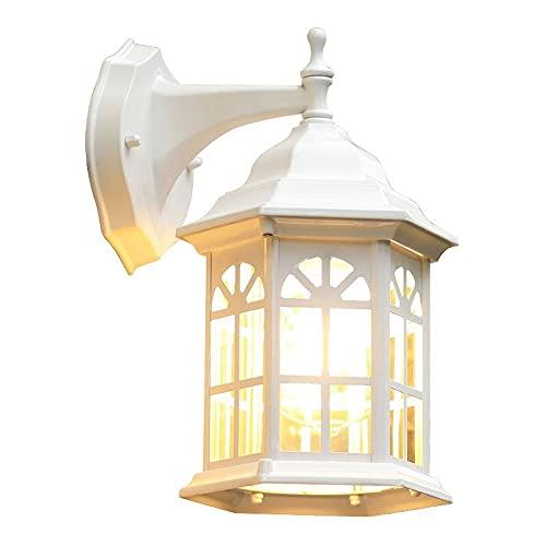 Luz de la pared europea Lámpara de pared al aire libre retro patio pasillo luces luces americana blanca pequeña villa balcón exterior pared luz impermeable wall sconence blanco (20x30cm) [Energy Class