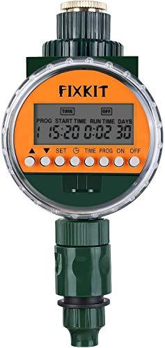 FIXKIT Neue Bewässerungscomputer, Bewässerungsuhr mit Regensensor IP68 Wasserdichter LCD Bildschirm, Bewässerungsprogramme bis zu 30 Tagen, ideal zur Blumenbewässerung, Rasenbewässerung usw