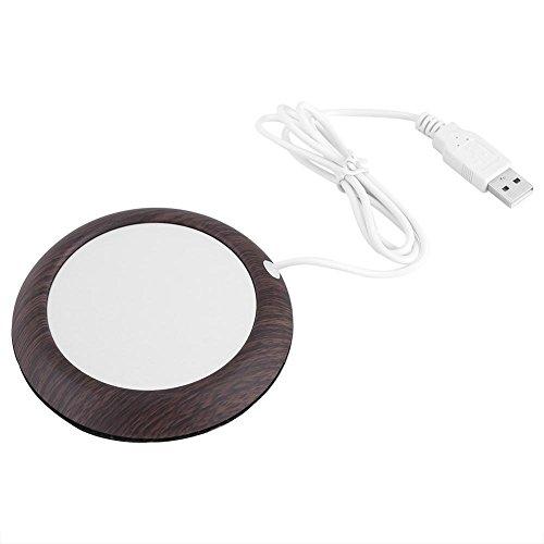 Oumij thee koffieverwarming pad USB houtnerf kopjeswarmer hitte beker mat kantoor thee koffie verwarming pad, Donkere walnoothoutnerf