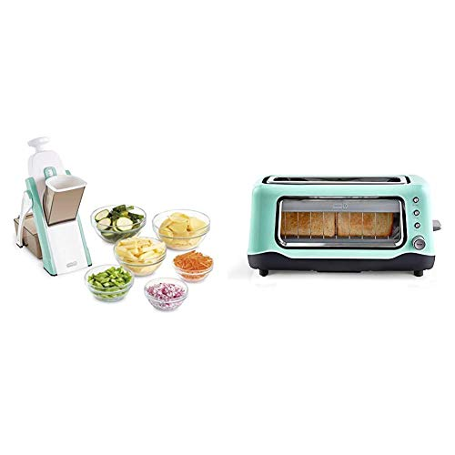 DASH Safe Slice Mandoline for Vegetables, Meal Prep & More with Thickness Adjuster, Aqua & DVTS501AQ Toaster, 2 Slice, Aqua