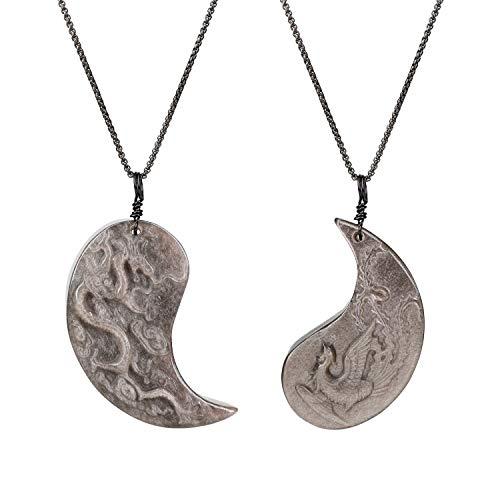 coai Geschenkideen Paareketten aus Obsidian Silber Taichi Ying und Yang Drache und Phönix Gravur Anhänger Pärchen Ketten