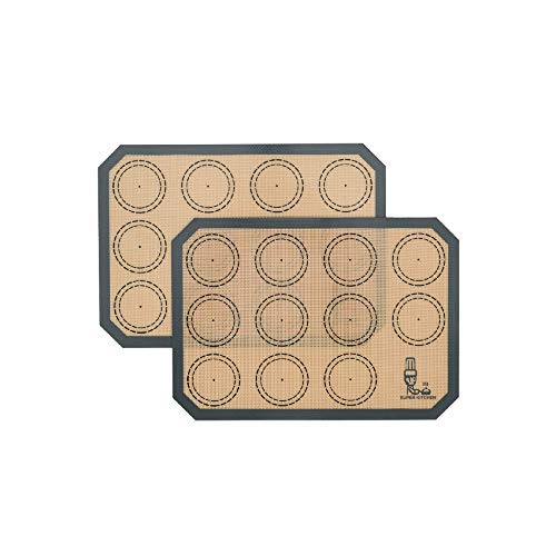 SUPER KITCHEN Lot de 2 tapis de cuisson en silicone - Tapis de cuisson anti-adhésif pour macarons, biscuits, macarons, gâteaux, pain, sans BPA (30 x 21 cm, gris)