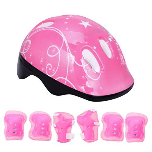 TOYANDONA Juego de 7 protectores para niños, con casco ajustable, rodillera, coderas, muñequeras para patines de ruedas, monopatín, scooter, ciclismo, rosa