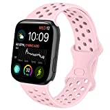 Oumida Compatible con Apple Watch, 38 mm, 42 mm, 40 mm, 44 mm, silicona suave, correa de repuesto para iWatch Series 6/5/4/3/2/1/SE (42 mm/44 mm S/M, rosa).