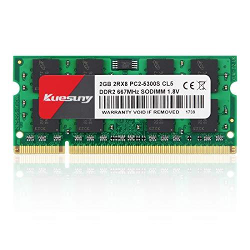 Kuesuny 2GB DDR2 667MHz Sodimm RAM PC2-5300 PC2-5400S 1.8V C