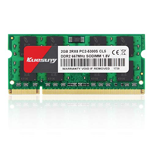 Kuesuny 2GB DDR2 667MHz Sodimm RAM PC2-5300 PC2-5400S 1.8V CL5 200 Pin 2RX8 Dual Rank Non-ECC Unbuffered Notebook Laptop Memory Modules Upgrade