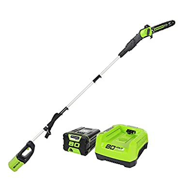Greenworks PRO 9' 80V Cordless Pole Saw, 2.0 AH Battery Included PS80L21