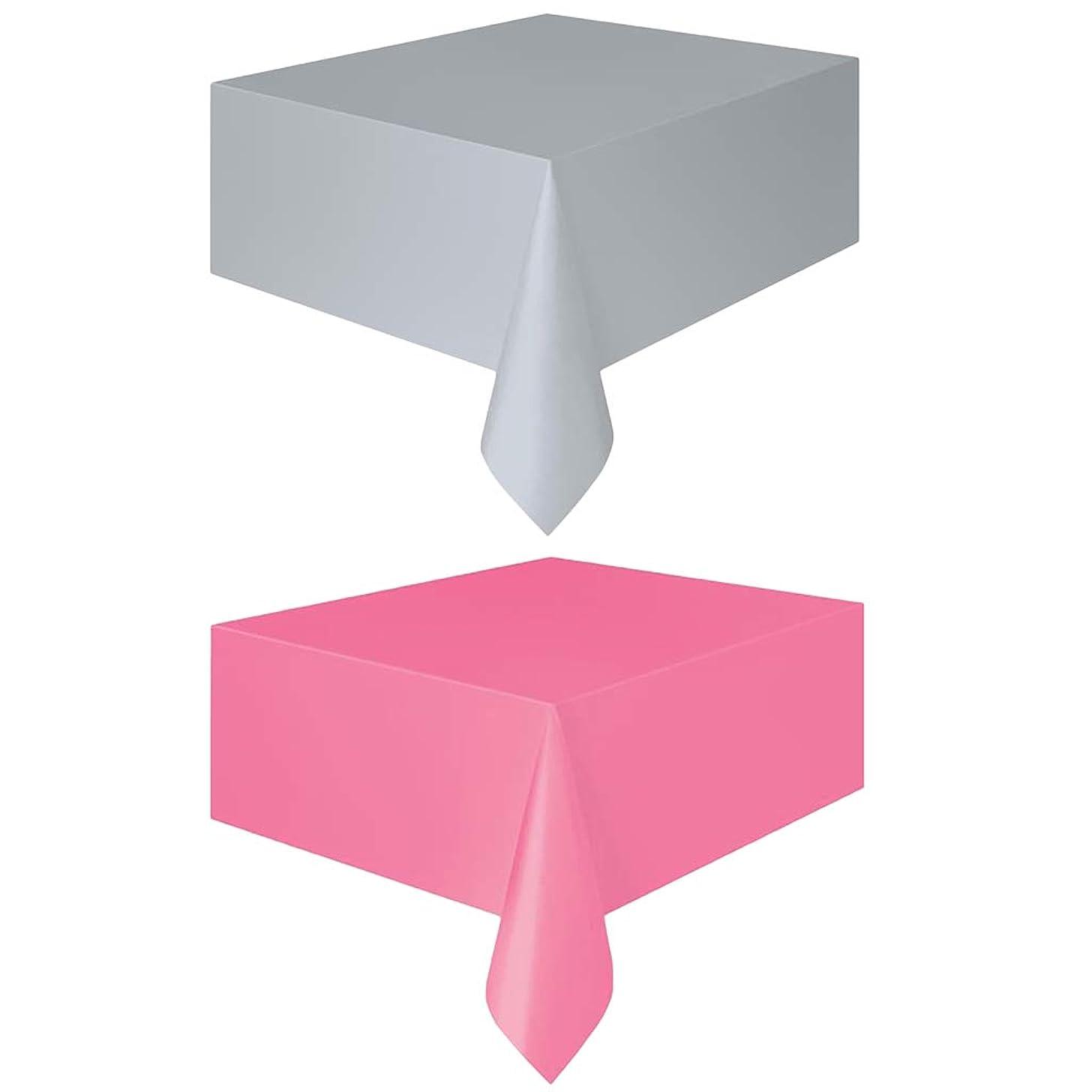 揮発性氏差別的全2タイプ 広告背景布 テーブルカバー 会議室用 テーブルクロスの外側 防水 - ピンク+シルバー