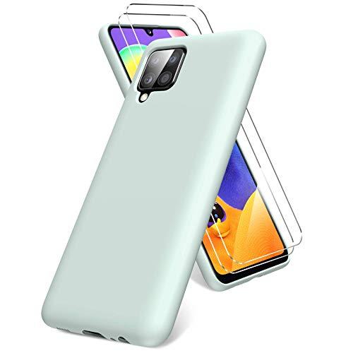 Vansdon Cover per Samsung Galaxy A12/M12, 2 Pellicola Protettiva in Vetro Temperato, Gomma Gel di Silicone Liquida Antiurto Custodia - Menta