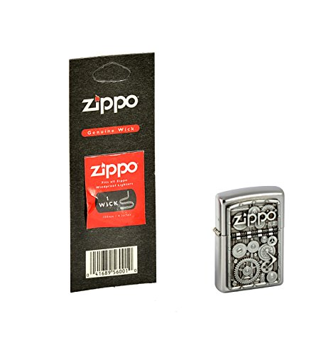 Zippo, Accendino, Motivo: Gear Wheels, con stoppino di Ricambio, Collection 2015, Finitura Satinata, Argento (Edelstahloptik)