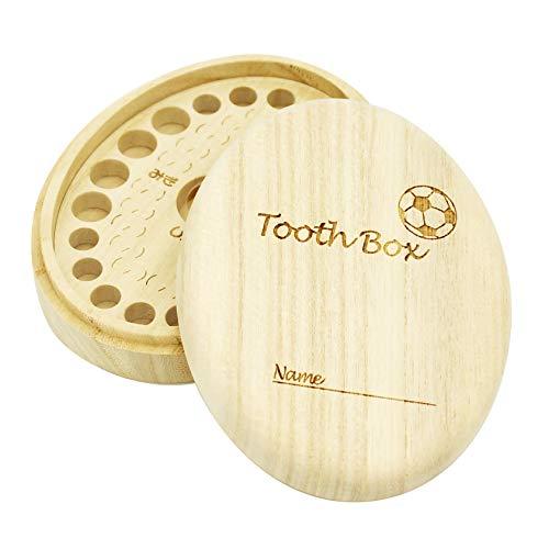 乳歯ケース【高級桐天然木使用】 (サッカーボール)