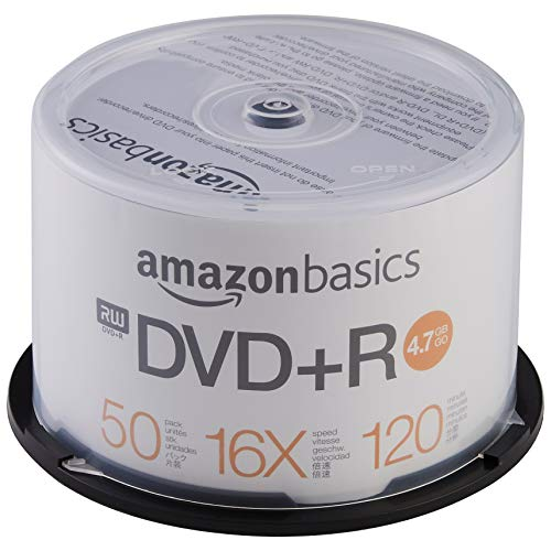 AmazonBasics – DVD-R-Rohlinge, 4,7 GB, 16x, 50er-Spindel