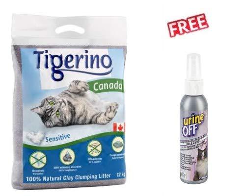 Tigerino Canada, lettiera per gatti, 12 kg, sensibile, di alta qualità, 100% argilla naturale, 350% assorbente, priva di polvere e molto economica