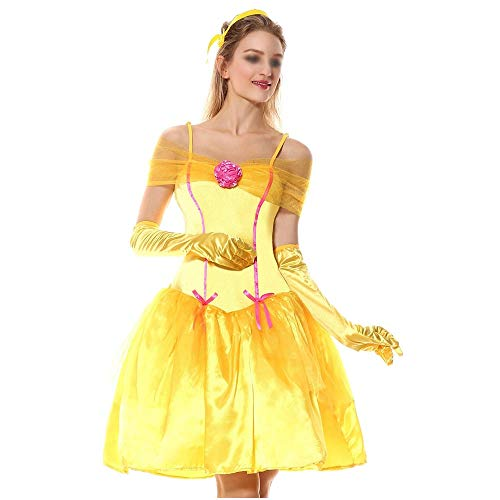 Disfraces de Halloween de moda, trajes magníficos y festivos de Halloween de Halloween amarillo Belle nieve blancos uniformes de vestido de la princesa de Cosplay traje foto Disfraces de Halloween Cóm