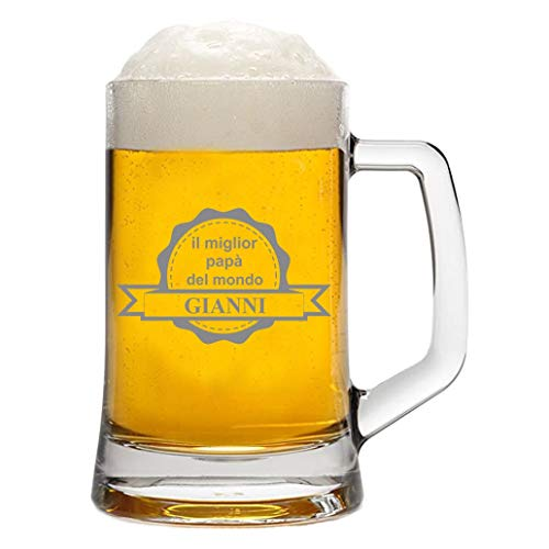 bubbleshirt Boccale da Birra Personalizzato con Nome Incisione Festa del papà - Il miglior papà del Mondo - Evento - Idea Regalo papà - Bicchiere in Vetro Chiaro, ca 50 cl