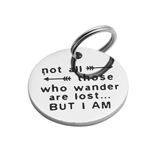 Ankiyabe Funny Dog Tag Cat Tag Pet Tag Puppy Tag Engraved Pet Tag Stainless Steel Dog Tag for Collar Puppy Tag (Not All Those Who Wander are Lost But I Am)