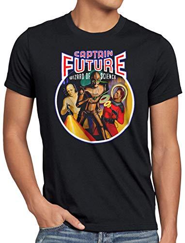 style3 CPT Future Wizard of Science Herren T-Shirt Comic Raumschiff Captain, Größe:XL