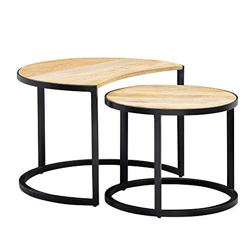Wohnling Juego de 2 mesas de café de madera maciza y metal, mesa redonda para salón, mesa auxiliar industrial con patas de metal negro, juego de 2 piezas