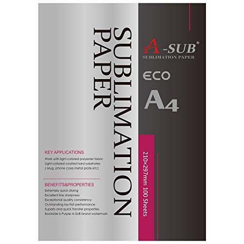 A-SUB Sublimation Paper A4, 210x297mm, 100 Sheets, Compatible with EPSON, SAWGRASS, RICOH, Brother Sublimation Printer