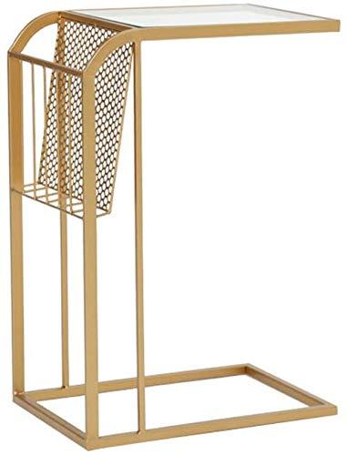 Iron Art salontafel goudkleurig Scandinavische stijl salontafel kleine hoekbank meerdere zijden nachtkastje leestafel vrijetijdstafel 453065 cm theetafel (goud) 3 3