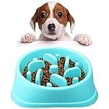 Platos para perros Comedero para Que Perros coman despacio Alimentación Lenta Interactivo Freno a la hinchazón Cuencos para Perros, se adaptan a Perros y Gatos pequeños, medianos (Azul)