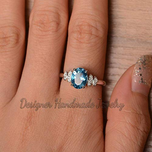 Cocktail Ring November Birthstone 925 Sterling Silver Ring Gift Wedding Gift Silver Topaz Ring Proposal Ring Natural Blue Topaz Ring