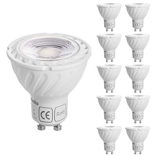 DEWENWILS GU10 LED Dimmbar,Warmweiss 2700K Lampe, 5W 350 Lumen LED Leuchtmittel Ersatz für 50W Halogenlampen, 10 Stück, CE und RoHS zertifiziert