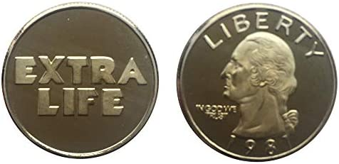 Monnaie de Ready Player One Or Gold Extra Life Coin Monnaie de Extra Life Ready Player One Coin