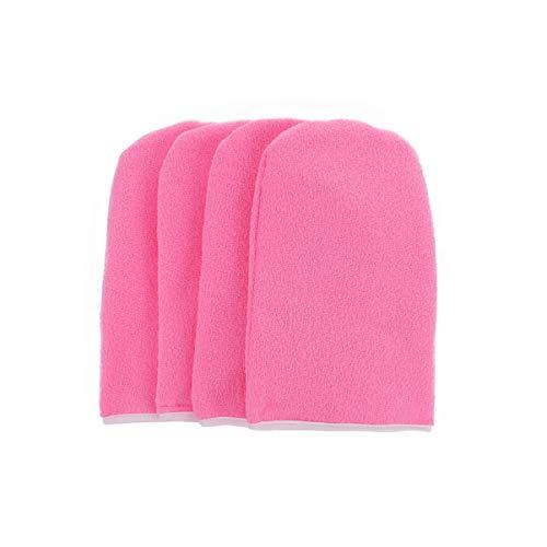 Pixnor 2 pares de guantes hidratantes de baño de parafina guantes de baño de cera para el cuidado de la piel, manoplas de parafina SPA, para el hogar, salón de belleza rosa