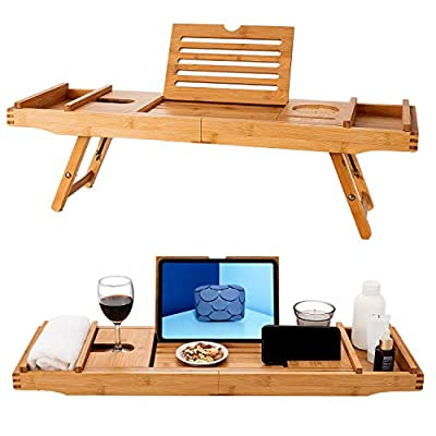 Bamboo Bathtub Caddy Tray with Extending Sides & Laptop Desk with Foldable Legs,Cellphone iPad Tray and Wineglass Holder?Free Soap Holder
