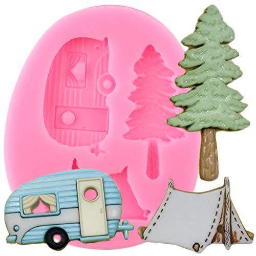 SKJH Camping Trailer Tent Silicone Molds DIY Party Cake Decorating Tools Tree Car Cupcake Candy Clay Chocolate Moulds