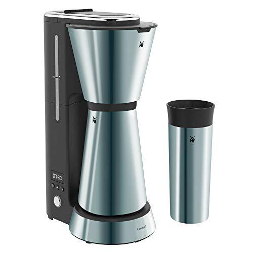WMF Küchenminis Aroma Filterkaffeemaschine mit Thermoskanne, 870 Watt, Thermobecher to go, kleine Kaffeemaschine Timer, edelstahl matt/metallic blau