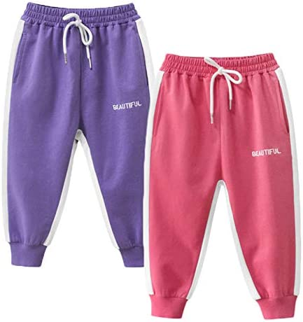 Toddler Girl Pants Jogger Sweatpants 2 Pack Set Pull on Fleece Pink Purple Cotton Pants 4T product image
