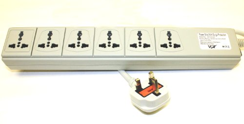 VCT WPS-UK 220-240 Volt Universal Power Strip Surge Protector with 6 Universal Outlets 13A Max. 3250W with UK Plug