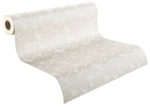 Rasch Tapeten Rasch Vinyl-Tapete auf Papier, Blätter in beige auf weißem Grund mit textiler Struktur, Palace 2018, 516906