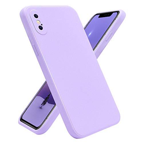Hülle für iPhone X, iPhone XS Flüssigem Schutzhülle Ganzer Körper Schutz Weiche Silikon Anti-Drop, Stilvolle Kreative Cover Hülle mit Weiche Futter aus Stoff Mikrofaser für iPhone X/XS (5,8