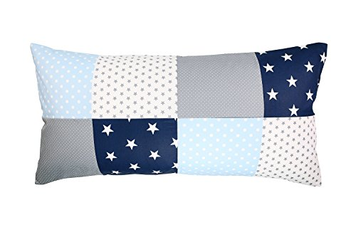 ULLENBOOM ® Patchwork Kissenbezug 40x80 Kinder Blau Hellblau Grau (Made in EU) - Kissenhülle (40 x 80 cm) aus 100% Baumwolle, ideal für Kopfkissen, Dekokissen & im Kinderzimmer, Motiv: Sterne